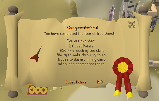 Quest completion scroll of The Tourist Trap