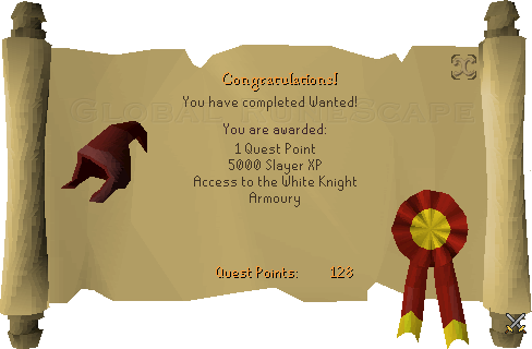 Quest completion scroll of Wanted!