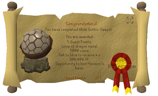 Quest completion scroll of While Guthix Sleeps