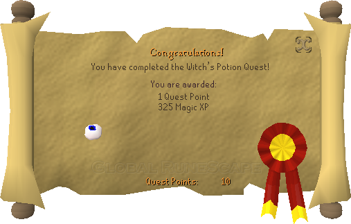 Quest completion scroll of Witch's Potion