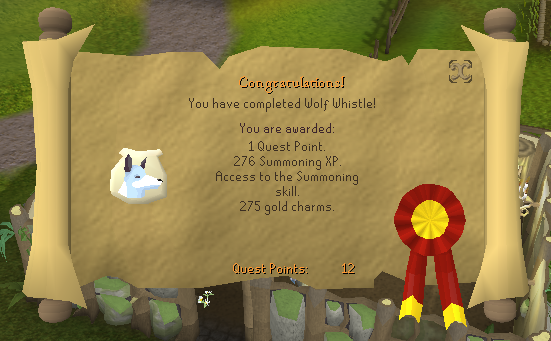 Quest completion scroll of Wolf Whistle